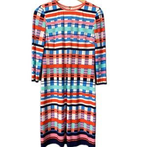 ELIZA J Grid Print Sheath Shift Dress 3/4 Sleeve 4